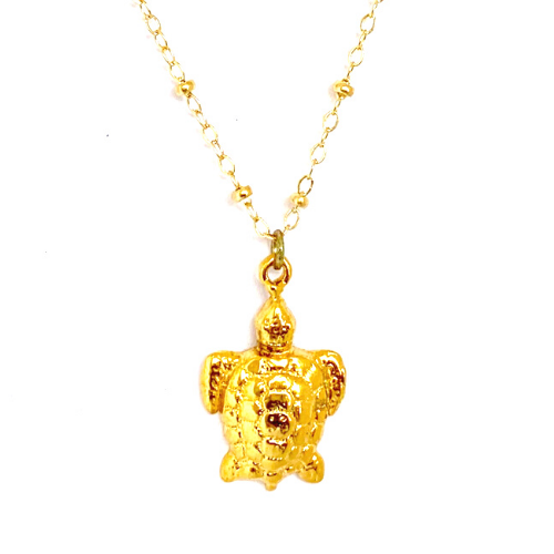 GOLD TURTLE WITH CABLE CHAIN