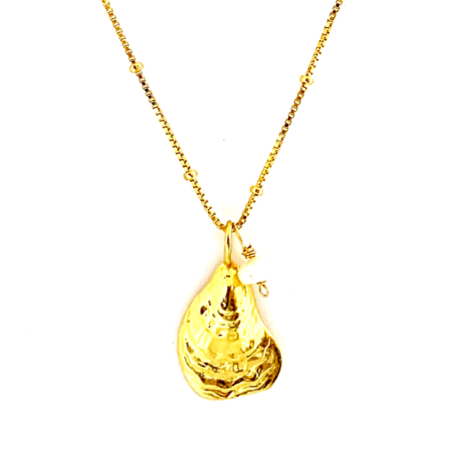 GOLD OYSTER + PEARL WITH BOX CHAIN