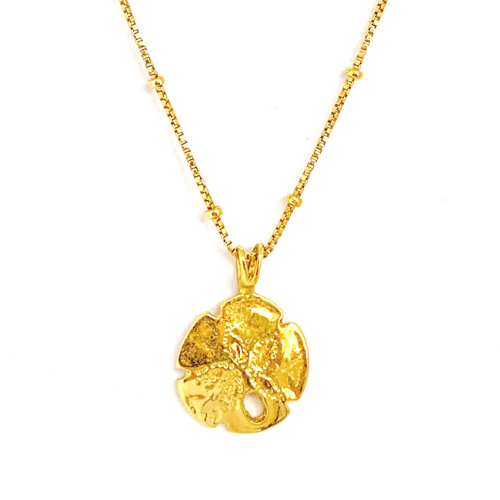 GOLD SAND DOLLAR WITH BOX CHAIN