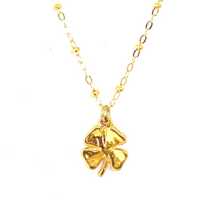 GOLD CLOVER WITH CABLE CHAIN