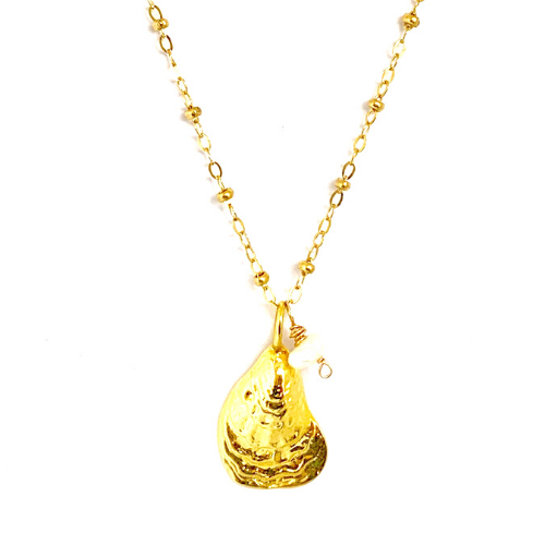 GOLD OYSTER + PEARL WITH CABLE CHAIN