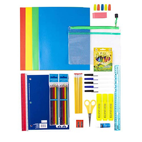 Case of 12-52 Piece Deluxe Kids Bulk School Supply Kits - Bulk School Supplies Bundle Pack