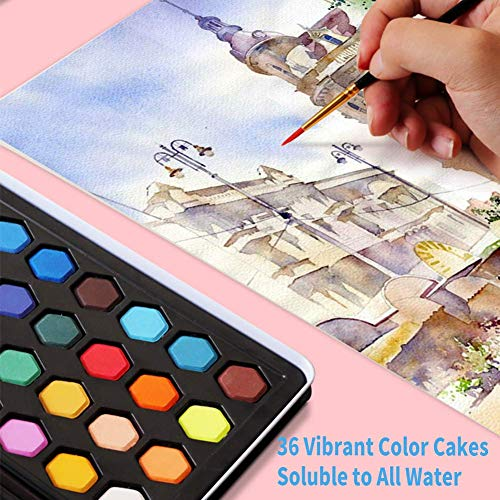 Watercolor Paint Set, Watercolor Paint Kit Color Cakes Included Brush Pen for Kids Beginner Adult Set of 36