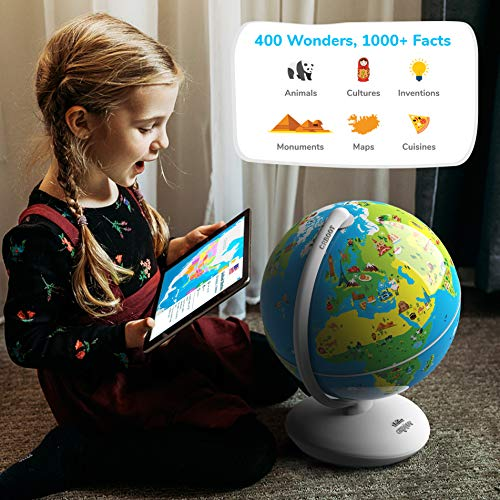 Reality Interactive Globe For Kids, Stem Toy For Boys & Girls Ages 4+ Educational Toy Gift (No Borders, No Names On Globe)