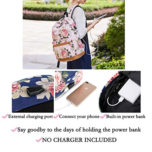 "Lmeison Floral Backpack for College Women, Charging Bookbag with USB Charging Port, Canvas Travel Daypack Lightweight 15.6"" Laptop Bag for School"