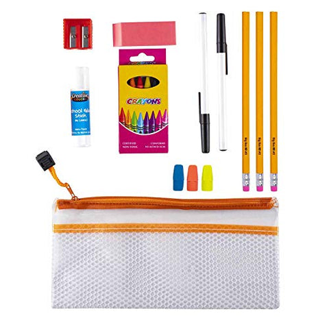 Bulk Case Bundle Pack of 48 Kits - 17 Piece Wholesale School Supplies Kit for Students, Teachers, Back to School Drives