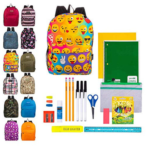 "17"" Bulk Backpacks in Assorted Prints and Colors with 35 Piece Kids School Supply Kits - Case of 24 Value Bundle Pack"