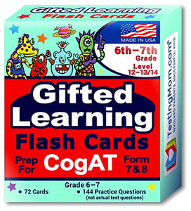 TestingMom.com CogAT Test Prep Flash Cards – Grade 6 (Level 12) - Grade 7 (Level 13/14) – 140+ Practice Questions – Tips for Higher Scores on The 6th Grade - 7th Grade CogAT – Verbal & Non-Verbal