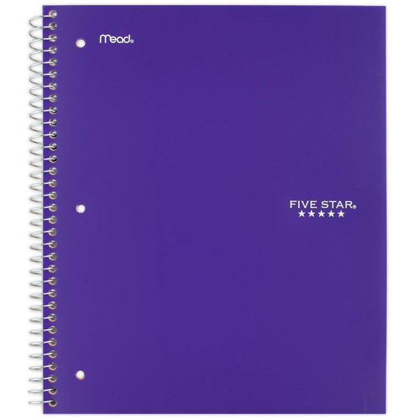 Five Star Spiral Notebook, 5 Subject, Wide Ruled Paper, 200 Sheets, 10-1/2 x 8 inches, Color Selected For You, 1 Count (05206)