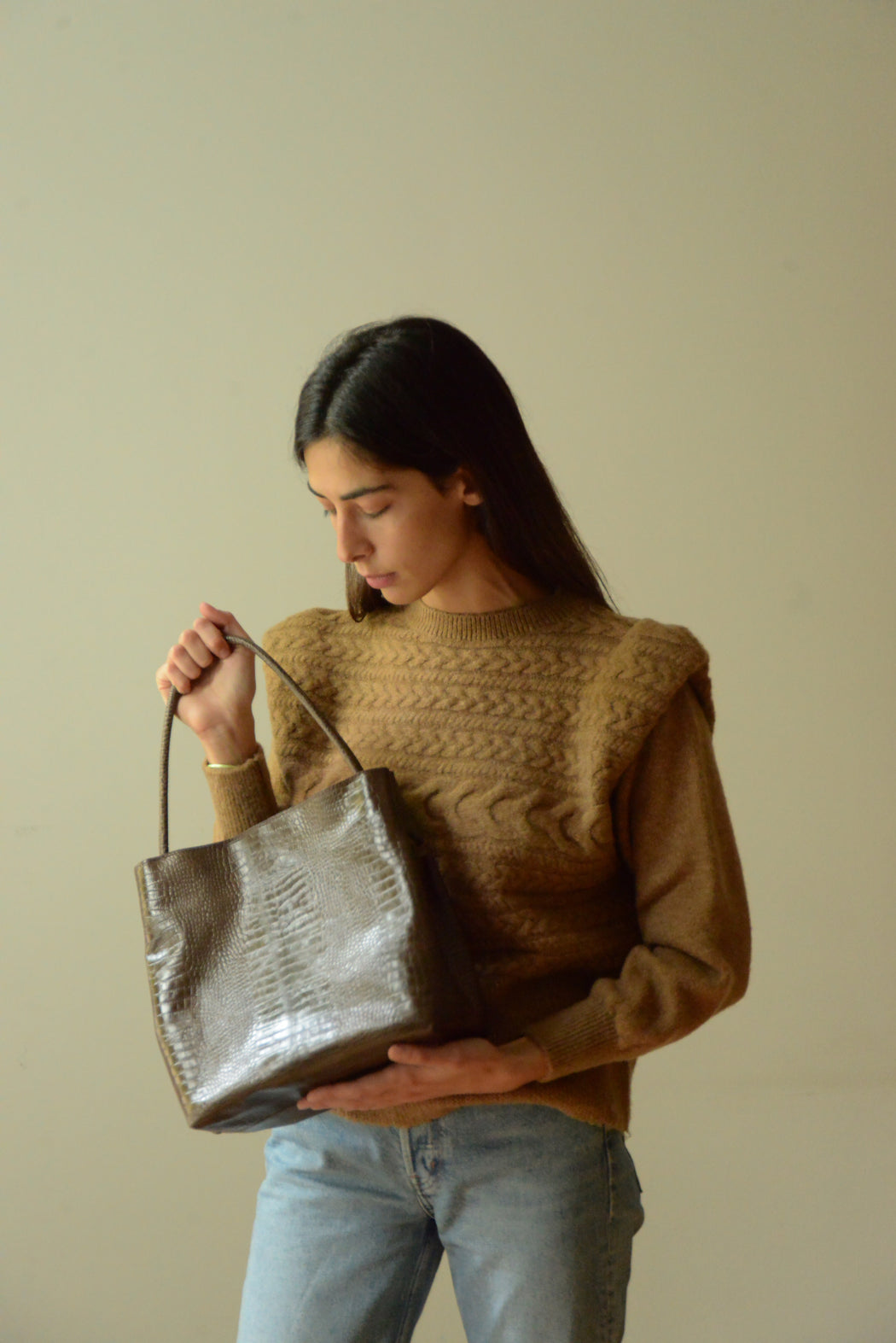 Jill Bag | Brown Croc Embossed