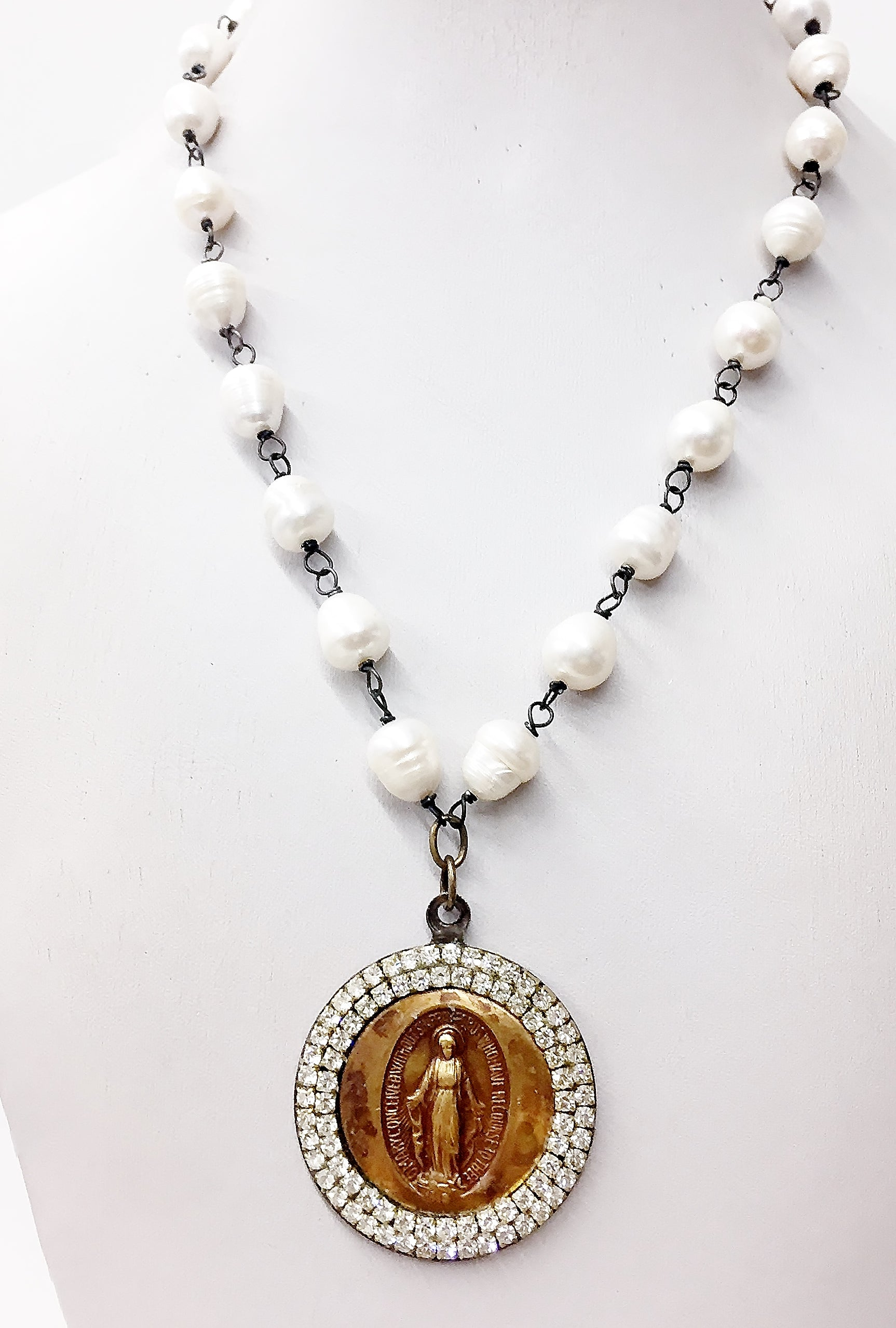 Jeweled Madonna Medallion Necklace