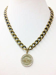 Jeweled Buffalo Nickel Medallion Necklace