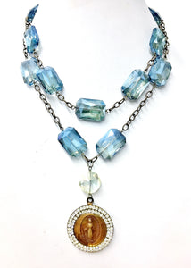 Blue Crystal Jeweled Madonna Necklace