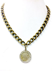 Jeweled Indian Nickel Necklace
