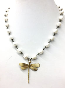 Dragonfly Necklace on Freshwater Pearls