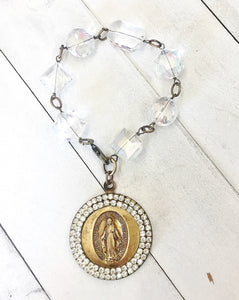 Jeweled Madonna Medallion Bracelet