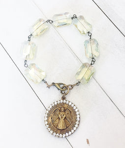 Jeweled Guardian Angel Medallion Bracelet