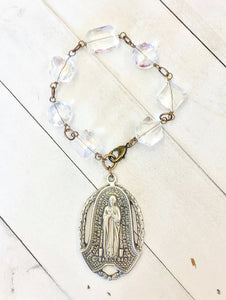 Our Lady Pewter Pendant on Crystal Mix Bracelet