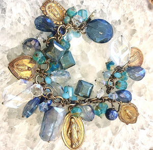 Shades of Blue Madonna Charm Bracelet