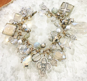 Shades of Grey Crystal Charm Bracelet