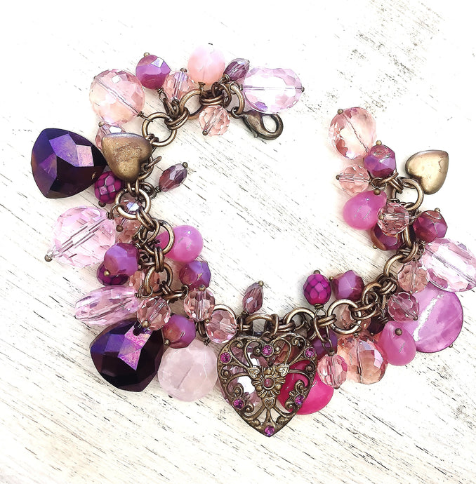 Shades of Pink Crystal Charm Bracelet