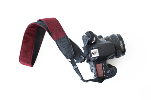 Traditional DSLR Strap - Chevron Tweed in Black & Crimson