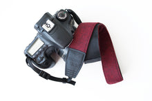 Traditional DSLR Strap - Chevron Tweed in Black & Crimson- ON SALE
