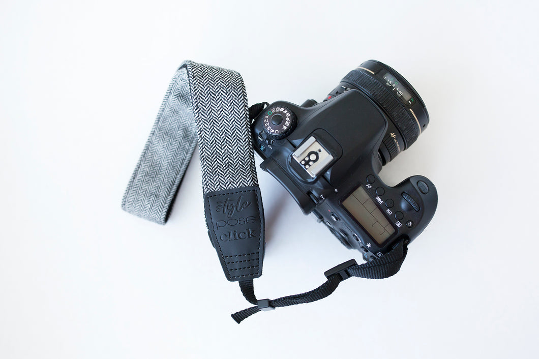 Traditional DSLR Strap - Chevron Tweed in Black & White