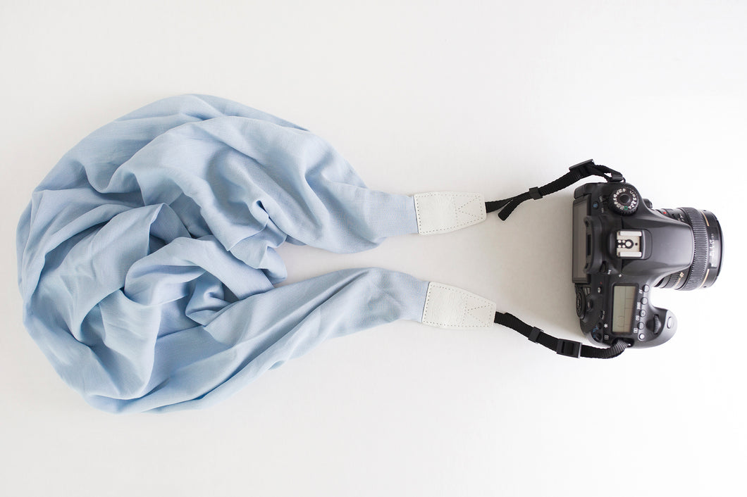 Crushed Crepe DSLR Scarf Strap - Dusty Blue