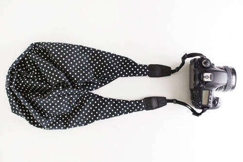 Cotton Classic DSLR Scarf Strap - Polkadot in Black