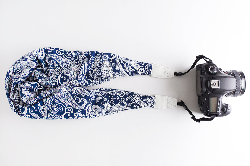 Cotton Classic DSLR Scarf Strap - Paisley in Navy Blue