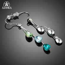 AZORA Elegant Charm Earrings for Women With 3pcs Water Drop Stellux Austrian Crystal Dangle Wedding Earrings TE0194 - Clucco