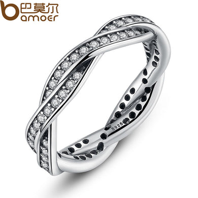 BAMOER 8 STYLE BRAIDED PAVE ,LEAVES My Princess Queen Crown SILVER RING Twist Of Fate Stackable Ring Jewelry for Women Party - Clucco