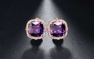 Party Size 4ct Cushion Cut Multi Color CZ Crystal Stud Earrings for Girls Nickel Free Earring OE150 - Clucco