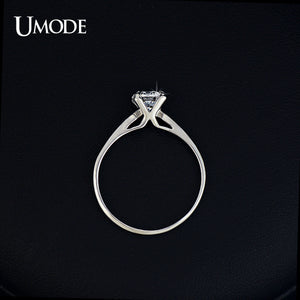 UMODE Wholesale Plating Classic Uplifted 4 Prong Single Zirconia Anillos Mujer Wedding Ring for Women JR0137 - Clucco