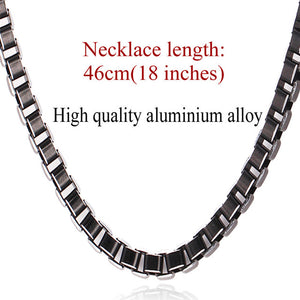U7 Necklace Men Jewelry Trendy Cool Black Collar Alloy Jewelry Wholesale 3MM/6MM Box Link Chain Necklaces Gift N306 - Clucco
