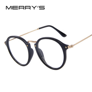 MERRY'S Fashion Women Clear Lens Eyewear Unisex Retro Clear Eyeglasses Oval Frame Metal Temples - Clucco