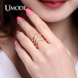 UMODE Trendy Two Colors Adjustable Micro CZ Crystal Chevron Pave Rings Gold / White Gold Color Jewelry for Women Anel New UR0360 - Clucco