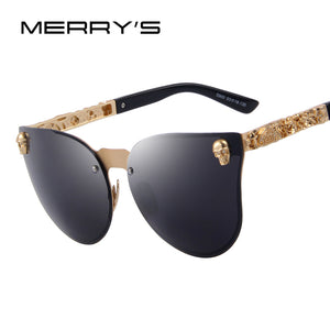 MERRY'S Fashion Women Gothic Eyewear Skull Frame Metal Temple Oculos de sol UV400 - Clucco