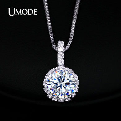 UMODE Multi Prongs Synthetic Cubic Zirconia Necklaces Heart and Arrows CZ Pendant Necklace with 8mm 2ct Cubic Zirconia UN0060 - Clucco