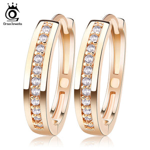 Gold-Color&Silver Color Cubic Zirconia Simple Item Female Earrings Hoop Jewelry for Women OME34 - Clucco