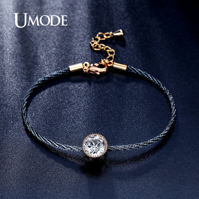 UMODE New Simple 1.5ct  CZ Crystal Gold Color Solitaire Rope Chain Bracelets for Women Pulseira Feminina Jewelry Bangles UB0088 - Clucco
