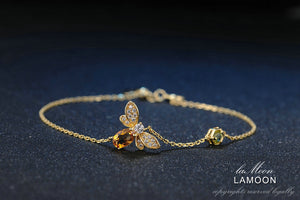 LAMOON Bee Peridot 5X7mm 100% Natural Oval Citrine 925 Sterling Silver Jewelry Rose Gold Chain Charm Bracelet S925 LMHI002 - Clucco