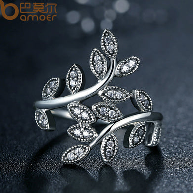 Silver Color Sparkling LEAVES SILVER RING WITH CUBIC ZIRCONIA for Women Jewelry PA7206 - Clucco