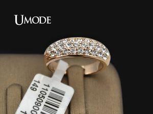UMODE Classic anillos mujer bague aros Rose Gold Color Rhinestones Studded Finger Rings JR0084A - Clucco