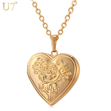 U7 Photo Frame Memory Locket Pendant Necklace Silver/Gold Color Romantic Love Heart Vintage Rose Flower Jewelry Women Gift P326 - Clucco