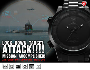 Gulper Shark Sport Watch Large Dial Black Outdoor Men LED Digital Wristwatches Waterproof Alarm Calendar Fashion Watches /SH364 - Clucco