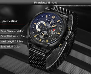 2017 NAVIFORCE Luxury Brand Men's Analog Quartz 24 Hour Date Watches Man 3ATM Waterproof Clock Men Sport Full Steel Wrist Watch - Clucco