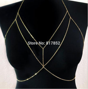New Style Fashion Women Gold colour Chains Sexy Bra Bikini Chains Jewelry 3 Colors WRB32 - Clucco