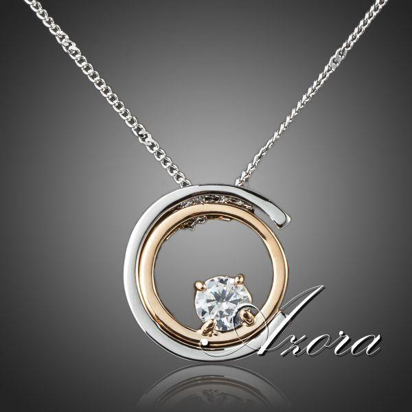 AZORA Classic White Gold Color White Stellux Austrian Crystal Pendant Necklace TN0075 - Clucco
